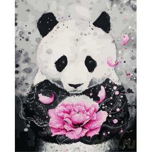 Панда с подарком Раскраска картина по номерам на холсте GX26922