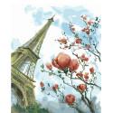 Магнолия и Эйфелева башня Раскраска картина по номерам на холсте