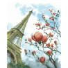Магнолия и Эйфелева башня Раскраска картина по номерам на холсте GX26985