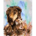 Пара львов Раскраска картина по номерам на холсте GX26964