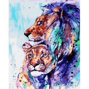 Цветная львиная любовь Раскраска картина по номерам на холсте GX26961
