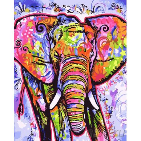 Красочный слон Раскраска картина по номерам на холсте GX26951