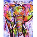 Красочный слон Раскраска картина по номерам на холсте