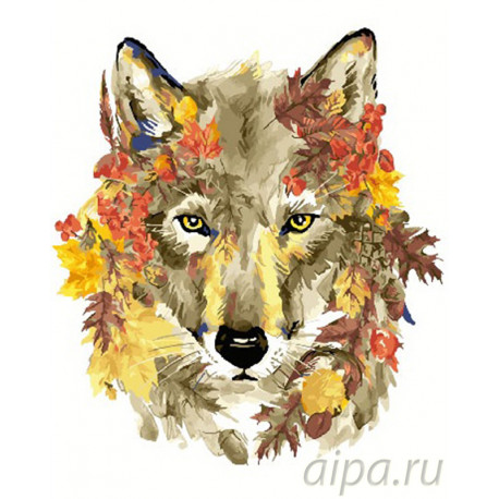 Осенний волк Раскраска картина по номерам на холсте GX26950
