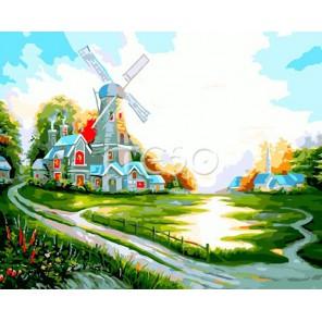 Мельница на рассвете Раскраска по номерам акриловыми красками на холсте Iteso