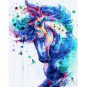 Конь с бабочками Раскраска картина по номерам на холсте