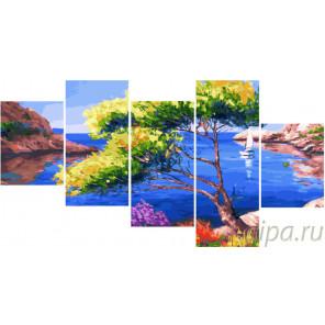 Морской пейзаж Модульная картина по номерам на холсте с подрамником WX1029