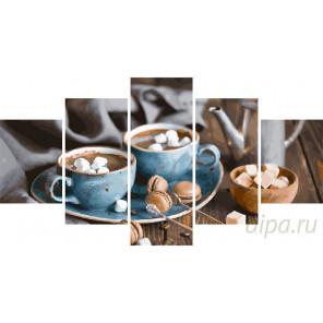 Кофе на двоих Модульная картина по номерам на холсте с подрамником WX1028