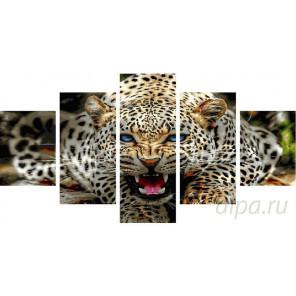Рёв леопарда Модульная картина по номерам на холсте с подрамником WX1015