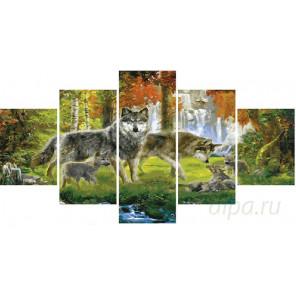 Семья волков Модульная картина по номерам на холсте с подрамником WX1016