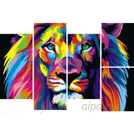 Радужный лев Модульная картина по номерам на холсте с подрамником WX1017