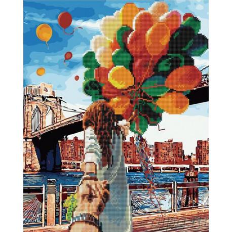 Следуй за мной, Бруклинский мост Алмазная картина-раскраска