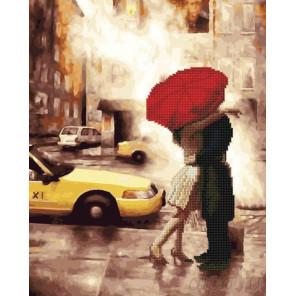 Счастье под красным зонтом Алмазная картина-раскраска