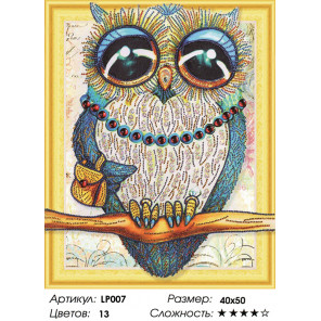 Количество цветов и сложность Большеглазая сова Алмазная вышивка мозаика 5D LP007