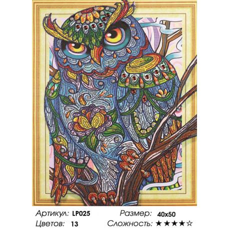 Количество цветов и сложность Филин на ветке Алмазная вышивка мозаика 5D LP025