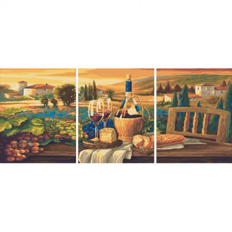 Виноградники Тосканы Триптих Раскраска картина по номерам на холсте PX5210