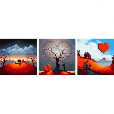 Пара под деревом-седцем Триптих Раскраска картина по номерам на холсте PX5250
