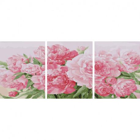 Розовые пионы Триптих Раскраска картина по номерам на холсте PX5231