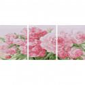 Розовые пионы Триптих Раскраска картина по номерам на холсте