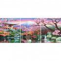 Цветущая вишня Триптих Раскраска картина по номерам на холсте PX5227