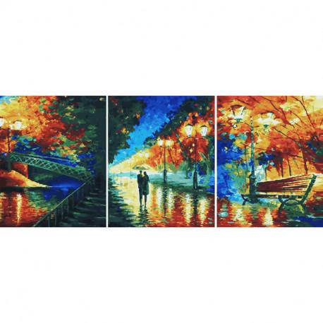 Осенняя аллея Триптих Раскраска картина по номерам на холсте PX5214