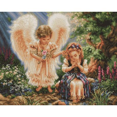 Ангел и девочка Алмазная мозаика вышивка Painting Diamond GF2093