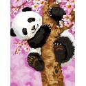 Панда на дереве Раскраска картина по номерам на холсте EX5695