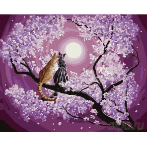 Коты под луной Раскраска картина по номерам на холсте GX25193
