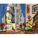Комната с выходом в сад Раскраска картина по номерам на холсте