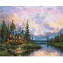 Дом у горных вершин Раскраска картина по номерам на холсте