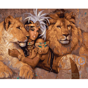 Клеопатра со львами Раскраска картина по номерам на холсте