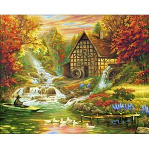 Мельница и горная речка Раскраска по номерам акриловыми красками Schipper (Германия)