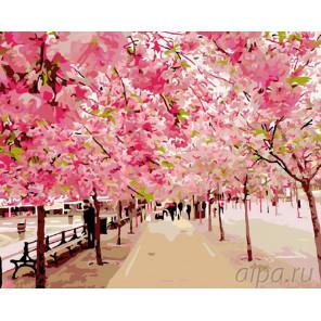 Розовый парк Раскраска картина по номерам на холсте