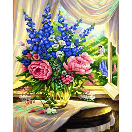 цветы на столе раскраска по номерам Schipper германия 9130601
