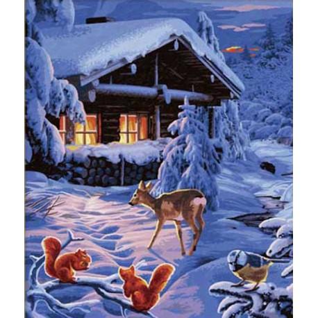 Зимняя сказка Раскраска по номерам акриловыми красками Schipper (Германия)
