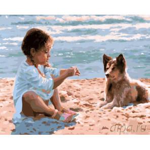 Девочка с другом Раскраска картина по номерам на холсте
