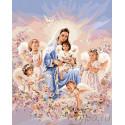 Мамины ангелочки Раскраска картина по номерам на холсте
