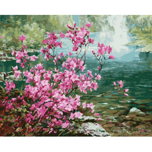 Багульник у реки Раскраска картина по номерам на холсте