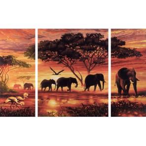 Африканские слоны Триптих Раскраска по номерам ( Картина ) Schipper (Германия)