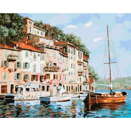 Красная лодка Раскраска картина по номерам на холсте