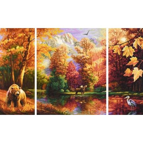 Осень Триптих Раскраска по номерам акриловыми красками Schipper (Германия)
