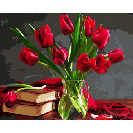 Красные тюльпаныРаскраска картина по номерам на холсте