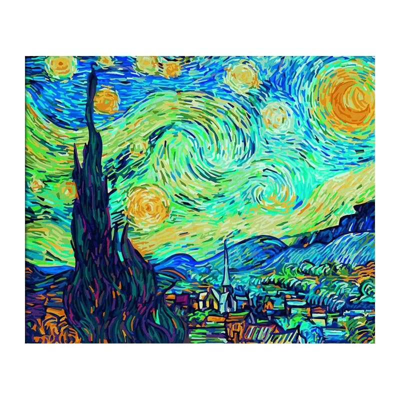 Звездная ночь ( репродукция Ван Гог) Раскраска по номерам ...