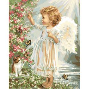 Ангел с котенком Раскраска картина по номерам на холсте GX9091