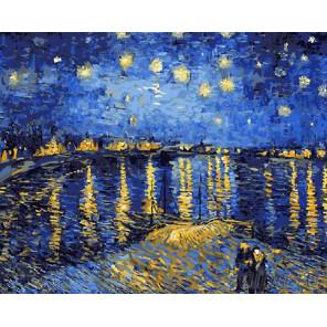 Звездная ночь Ван Гога Раскраска картина по номерам на холсте G323