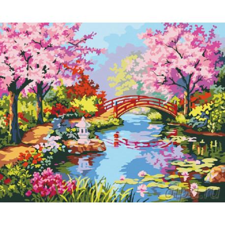 Мостик в саду цветущей сакуры Раскраска картина по номерам на холсте G182