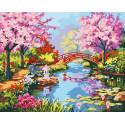Мостик в саду цветущей сакуры Раскраска картина по номерам на холсте