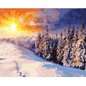 Зимнее солнце Раскраска картина по номерам на холсте GX8783
