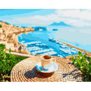 Кофе и море Раскраска картина по номерам на холсте GX23281