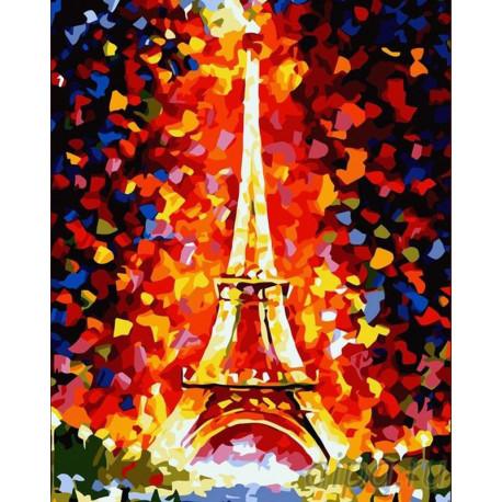 Праздничная Эйфелева башня Раскраска картина по номерам на холсте G186